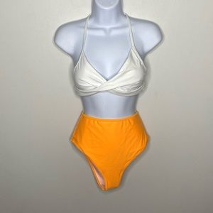 Cupshe Two Piece White & Orange Bathing Suit Small